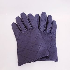 Merona Black Quilted Leather Gloves, Sz L/XL